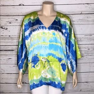 Chaps NWT 2X Tie Dye Print Kimono Poncho Blouse